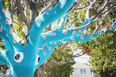 Yarn Bombed Tree Squid4 #squid #art #street
