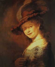 "Rembrandt with amazing painting ""Portrait of Laughing Saskia Riant\"""