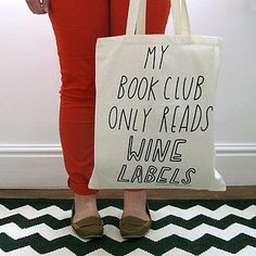 swissmiss | Book Club Tote Bag #tote #labels #my #book #wine #only #reads #club