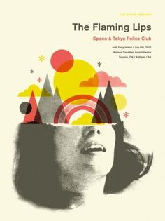 GigPosters.com - Flaming Lips, The - Spoon - Tokyo Police Club - Fang Island #doublenaut #gig #design #print #screen #illustration #poster