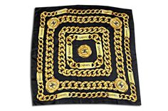 Chanel Caviar Black Silk Scarf