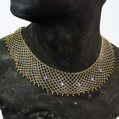 Elaborate Designer choker with diamonds and rubies, yellow gold/white gold 585, one of a kind