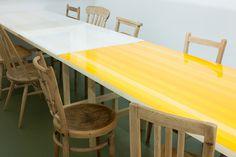 Schemata Architects #paint #yellow #table