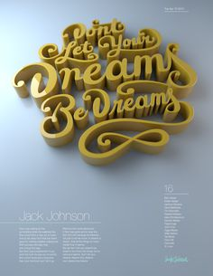Dreams Be Dreams by Christopher Vinca #typography #lettering #3d