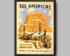 See America Poster: Vintage Montana Travel Print | Etsy