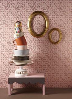 decoration, wallpaper, frames, cups, matryoshka #frames #design #cups #installation