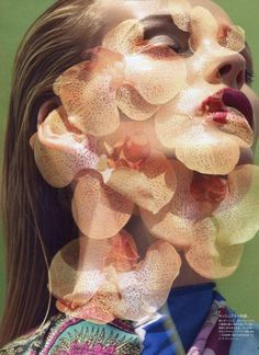 This Soft Embrace (Vogue Japan) #fashion #portraits #overlay #flowers #double exposures #slve sundsb