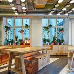 Generator Hostel Berlin Mitte #interior #rustic #wood #kitchen #hanging #table #flowers