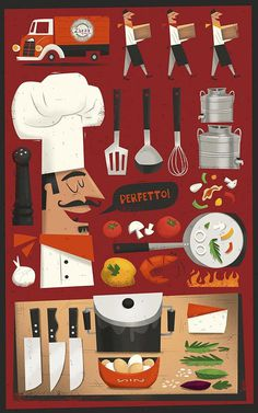 'Zizzi' Illustrated Menu Cover by Peter Donnelly