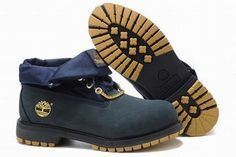 timberland roll top mens boots dark blue yellow
