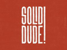 Solid Dude #inspiration #tecture #lettering #typography