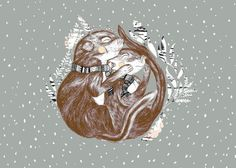 www.larabispinck.com #plants #sleeping #squirrel #snow #illustration #animals #winter
