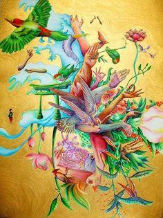生まれサーイクル umare circle on the Behance Network #birth #nacimiento #bird #illustration #gold #flower #circle #japan #tsunami