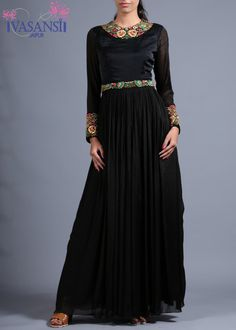 Vasansi Black Wrinkle Crepe Gown