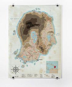 Patrice Barnabé #mapa #barnab #map #island #illustration #patrice #face