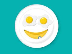 #illustration #kids #children #banana #breakfast #eggs #fun #funny #plate #smiley #smile