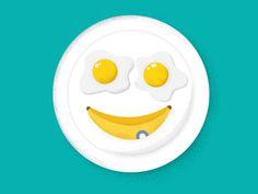 #illustration #kids #children #banana #breakfast #eggs #fun #funny #plate #smiley #smile