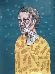 Words are Weapons - Katie Melrose #words #bullets #portrait #guns #man