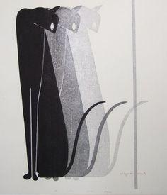 Kiyoshi SAITO, Japan 斎藤清 woodblock print #illustration #cat #black