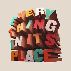 Typography Love / Everything In Its Place by DAVID McLEOD #mcleod #wooden #colorful #david #typography