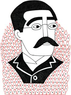 Rudyard Kipling #drawing #illustration #rudyardkipling #portrait #writer #author #nobel #jungle #thejunglebook