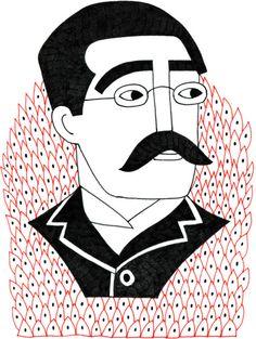 Rudyard Kipling #drawing #illustration #rudyardkipling #portrait #writer #author #nobel #jungle #thejunglebook