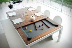 Fusion Pool Table And Dining Table #tech #flow #dining #gadget #gift #ideas #pool #table #room #cool