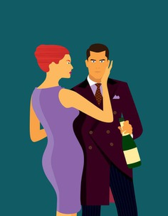 Suave Couple Illustration by Ashwin Kandan / Shwin. #Suave #Fashion #Champagne #Dress #Illustration #Debonair #Urbane