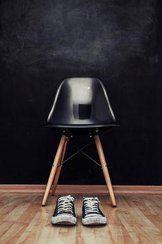Eames Chair #chalboard #interiordesign #converse #eameschair #eames