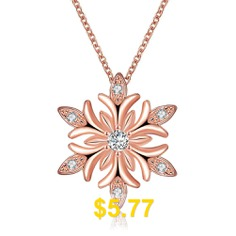Snow #Flower #Fashion #Necklace #Zircon #Christmas #Necklace #- #ROSE #GOLD