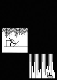 Otl Aicher 1972 Munich Olympics - Related Design #otl #deer #isny #white #skiing #black #aicher #trees