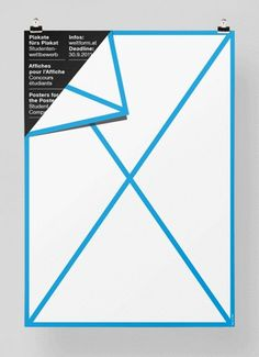Posters for the Poster xc2xab FEIXEN: Design by Felix Pfxc3xa4ffli #fold #white #page #black #turn #poster #blue