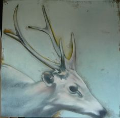 Preview: Mercedes Helnwein, Kim Kimbro, and Vonn Sumner at Merry Karnowsky Gallery   Hi-Fructose Magazine #deer #white #horned #neutral #painting #blue #drawing