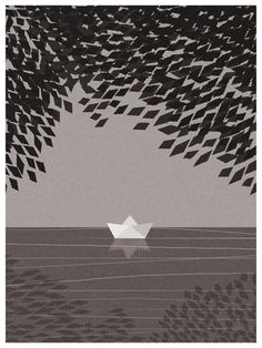 summer day #lake #illustration #boat #summer #day #mood #paper