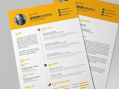 Free Yellow Themed Resume Template with Cover Letter