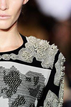 , #beads #textile #white #black