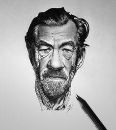 Sir Ian McKellen on Behance #ian #film #mckellen #celebrity #white #famous #caricature #black #illustration #portrait #and #pencil #fame #sketch