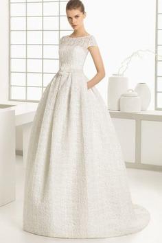 Robe de mariée humble au jardin avec manche courte en chiffon longueur à cheville - photo 1