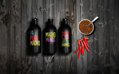 LOS MEZQUITES on Behance #bottles #sauces #branding