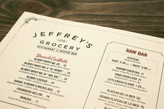 Art of the Menu: Jeffrey's Grocery #ivory #red #classic #menu #black #minimal #collateral