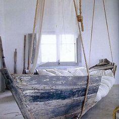 Old Boat Turned Into Hanging Bed #interior #design #decor #boat #bed #deco #decoration
