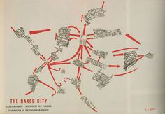 The naked City. Guy Debord #drift #map