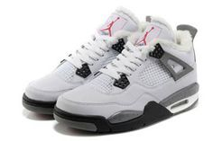 Fur Lining Shoes with White & Grey Color Michael Retro Jordan 4 #shoes