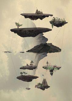 Islands by Tom Reznikov #islands #print #dream #floating #poster #art #collage