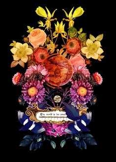 Todos os tamanhos | Estampa Localizada - Têca | Flickr – Compartilhamento de fotos! #world #color #illustration #mapamundi #vintage #fashion #flowers