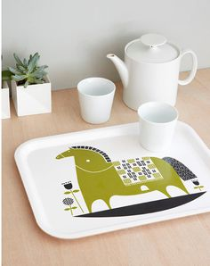 Rocking horse tea tray van roddyandginger op Etsy #illustration #etsy #horse