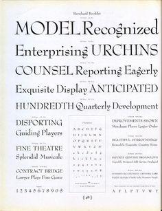 This type specimen shows Lucian Bernhard's 1932 font Bernhard Booklet. #type #specimen