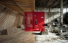 rousse_6_905.jpg (800×509) #wood #halves #concrete #red