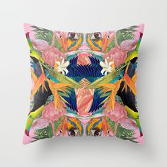 Tropical Kaleidoscope Throw Pillow #tropical #pattern #kaleidoscope #bird #flower #exotic