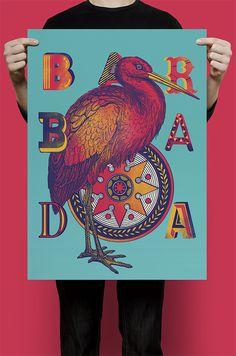 BARBADA on Behance #partt #lettering #pink #bird #vintage #poster #typography